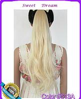 Объемный волнистый хвост на ленте, шиньон, наращивание волос, длина - 55 см, вес - 90 г, цвет №613А