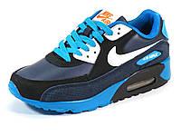 Кроссовки кожаные унисекс черные/бирюзовые Nike Air Max, фото 1