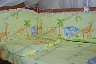 Детское постельное бельё в кроватку из 8-ед с рюшей. Сафари
