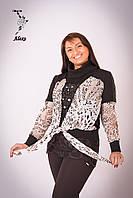 """Блуза женская """"Alexo"""" воротник хомут,комбинированная с трикотажем,украшена камнями,змейка по плечу."""
