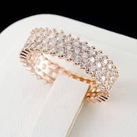 Шикарное кольцо с кристаллами Сваровски, покрытое золотом 0764