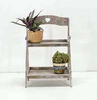 Подставка деревянная прованс под цветы 2 полки раскладная
