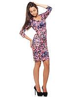 Цветастое женское платье