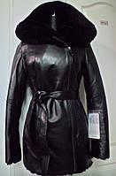 Дубленка женская из овчины-длина 75см. верх кожа с капюшоном;44р;46р;48р
