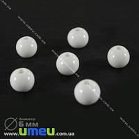 Бусина пластиковая Круглая, 6 мм, Белая, 1 уп (20 шт) (BUS-000679)