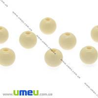 Бусина пластиковая Круглая, 6 мм, Слоновая кость, 1 уп (20 шт) (BUS-008590)