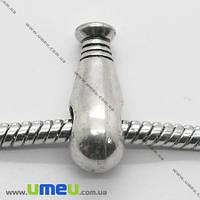 Бусина PANDORA мет. Бейсбольная бита, 19х8 мм, Античное серебро, 1 шт. (BUS-007435)