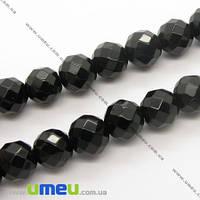 Бусина натуральный камень Агат черный, 10 мм, Круглая граненая, 1 шт. (BUS-005456)