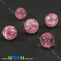 Бусина стеклянная Битое стекло, 6 мм, Розовая, Круглая, 20 шт. (BUS-002712)