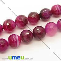 Бусина натуральный камень Агат розовый, 12 мм, Круглая граненая, 1 шт. (BUS-006805)