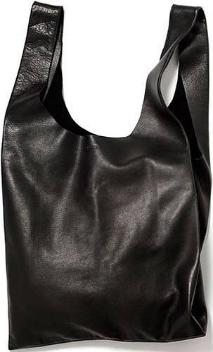 Вместительная, женская кожаная сумка POOLPARTY арт.: leather-tote голубая, черная