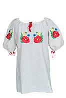 Блуза вышиванка с маками. Короткий и длинный рукав