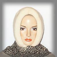 Меховой платок из норки (молочный на леопардовой ткани)