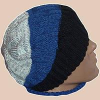 Мужская вязаная шапка-носок спортивного силуэта яркой расцветки