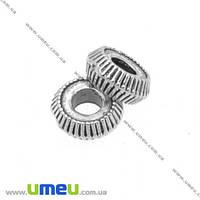 Бусина-разделитель мет., 4,5х2 мм,  Античное серебро, 1 шт (BUS-007730)