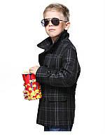 Пальто детское для мальчика D-700 (Серая клетка)