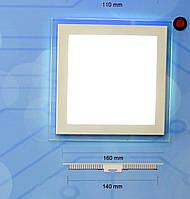 Светодиодный встраиваемый светильник потолочный Bellson Glass квадрат (12 Вт, 160х160 мм), фото 1
