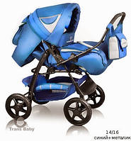 Универсальная коляска-трансформер Trans Baby  Яся (14/16) синий+металик б/к