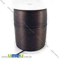 Атласная лента двухсторонняя, 3 мм, Коричневая, 1 м. (LEN-009660)