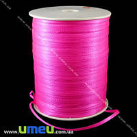 Атласная лента двухсторонняя, 3 мм, Ярко-розовая, 1 м. (LEN-009651)