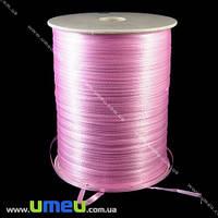 Атласная лента двухсторонняя, 3 мм, Розовая, 1 м. (LEN-009664)