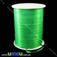 Атласная лента двухсторонняя, 3 мм, Зеленая, 1 м. (LEN-009667)