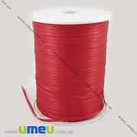 Атласная лента двухсторонняя, 3 мм, Красная, 1 м. (LEN-009649)