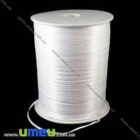 Атласная лента двухсторонняя, 3 мм, Белая, 1 м. (LEN-009648)