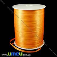 Атласная лента двухсторонняя, 3 мм, Оранжевая, 1 м. (LEN-009668)