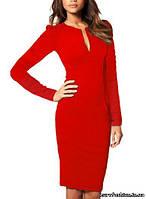 Элегантное красное платье с треугольным вырезом декольте, длинный рукав