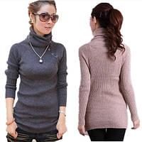 Женский теплый свитер с высоким воротником