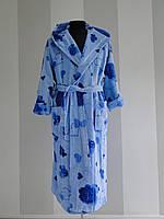 Длинный женский халат из велюра с воротником  Vevien  Турция   pr-hj191