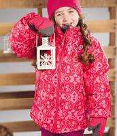 Зимний термокостюм для девочки от 2 до 7 лет (куртка, полукомбинезон, манишка) ТМ PerlimPinpin Сердечки VH237