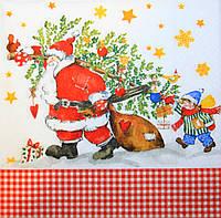 Декупажная салфетка Дед мороз с ёлкой и подарками 3533