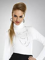 Женская блуза-гольф цвета экри с воротником-стойка. Модель Nadina Eldar.