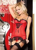 Эротическое красное платьице с подвязками, трусики и чулки