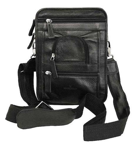 Стильная сумка кожаная мужская на плече Vip Collection 1418A flat черная