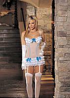 Кокетливое белое платьице с оборками, трусики и чулки