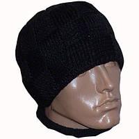 Мужская вязаная шапка на подкладке объемной ручной вязки