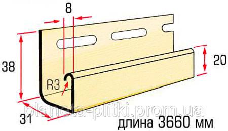 Планка J-trim Alta-Siding. 3.66 м. Размеры