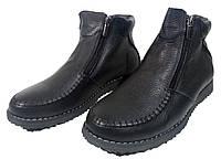 Ботинки мужские зимние  натуральная кожа черные на молнии  (392)