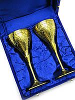 Бокалы бронзовые позолоченные (набор 2 шт) (h-16.5 см) (24х18,5х7,5 см)