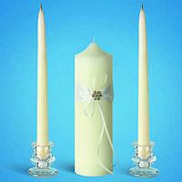 """Свадебные свечи """"Семейный очаг"""" с украшением с камушками, набор свадебных свечей"""