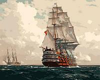 Картина по номерам на холсте Menglei Корабль в море худ. Димер, Михаэль Цено (VP256) 40 х 50 см