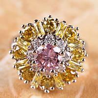 Кольцо женское с цитрином, белым и розовым топазом