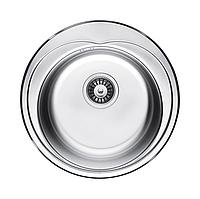 Круглая кухонная мойка Fabiano Ф48 нержавеющая сталь, сатин
