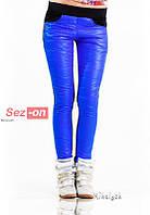 Штаны женские с карманами на флисе - Синий