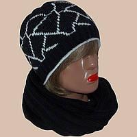 Вязаная женская шапка и шарф с норвежскими орнаментами
