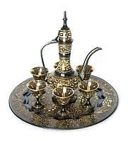Сервиз бронзовый подарочный черный (поднос, 6 рюмок, кувшин)