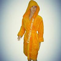 "Махровый женский халат Soft (Короткий с капюшоном) ""Желтый"" S/M - 44-46 - Турция"